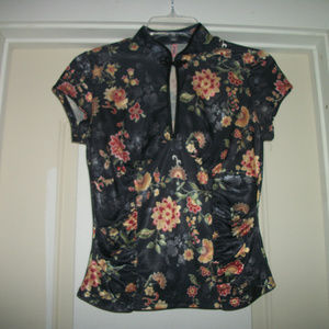 MODERNIST ASIAN INSPIRED FLORAL 40S STY BL SM